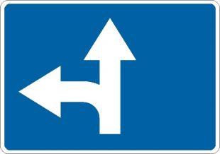 Znak F-11 Dozwolone kierunki ruchu określone na znaku - drogowy uzupełniający