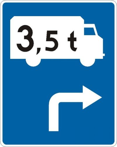 Znak F-12 Kierunek przejazdu pojazdu tranzytowego określony na znaku - drogowy uzupełniający - Drogowskazy w miastach a modele sieci drogowej
