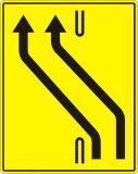 Znak F-21 Zjazd na sąsiednią jezdnię w związku z tymczasową organizacją ruchu - drogowy uzupełniający - Oznakowanie na czas robót drogowych