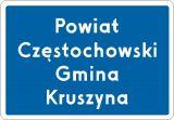 Znak F-3a Znak wjazdu do województwa, powiatu, gminy - drogowy uzupełniający - Liternictwo znaków drogowych pionowych