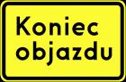Znak F-9f Kierunek ruchu objazdu opisany na znaku - drogowy uzupełniający