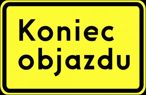 Znak F-9f Kierunek ruchu objazdu opisany na znaku - drogowy uzupełniający - Oznakowanie objazdów