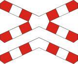 Znak G-4 Krzyż św. Andrzeja przed przejazdem kolejowym wielotorowym - drogowy przed przejazdami kolejowymi - Znak stop (znak zakazu B-20)