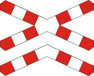 Znak G-4 Krzyż św. Andrzeja przed przejazdem kolejowym wielotorowym - drogowy przed przejazdami kolejowymi