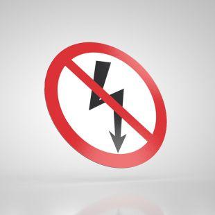 Znak podłogowy, naklejka BHP - Nie załączać urządzeń elektrycznych