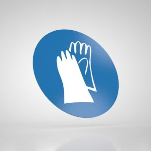 Znak podłogowy, naklejka BHP - Stosuj ochronę rąk