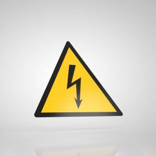Znak podłogowy, naklejka BHP - Uwaga! Niebezpieczeństwo porażenia prądem