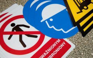 Znak podłogowy, naklejka BHP z opisem - Uwaga! Niebezpieczeństwo
