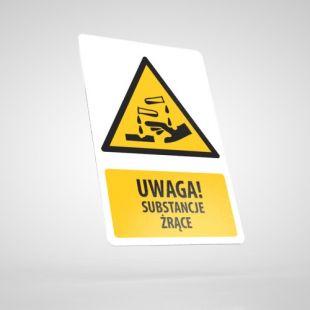 Znak podłogowy, naklejka BHP z opisem - Uwaga! Substancje żrące