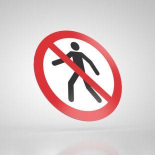 Znak podłogowy, naklejka BHP - Zakaz przejścia