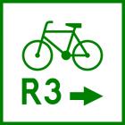 Znak R-2a Zmiana kierunku szlaku rowerowego międzynarodowego R-2a - drogowy