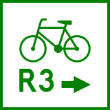 Znak R-2a Zmiana kierunku szlaku rowerowego międzynarodowego R-2a - drogowy - Rodzaje znaków drogowych: jaki jest podział oznaczeń drogowych? Z przykładami