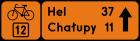 Drogowskaz tablicowy szlaku rowerowego R-4c
