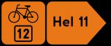 Znak R-4d Drogowskaz szlaku rowerowego w kształcie strzały podający odległość R-4d - drogowy - Znaki szlaków rowerowych
