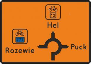 Znak R-4e Tablica przeddrogowskazowa szlaku rowerowego R-4e - drogowy