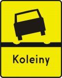 Znak T-13 Tabliczka wskazująca odcinek drogi, na którym występują deformacje nawierzchni w postaci kolein - drogowy - Tabliczki do znaków drogowych – znaki drogowe, cz. V