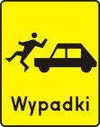 Znak T-14 Tabliczka wskazująca miejsce częstych potrąceń pieszych - drogowy