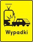 Znak T-14c Tabliczka wskazująca miejsce częstych zderzeń z tramwajami - drogowy