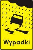 Znak T-15 Tabliczka wskazująca miejsce częstych wypadków spowodowanych śliską nawierzchnią jezdni ze względu na opady deszczu - drogowy - Tabliczki do znaków drogowych – znaki drogowe, cz. V