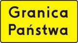 Znak T-17 Tabliczka wskazująca granicę państwa - drogowy - Liternictwo znaków drogowych pionowych