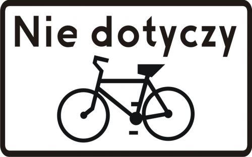 Znak T-22 Tabliczka wskazująca, że znak nie dotyczy rowerów jednośladowych - drogowy - Tabliczki do znaków drogowych – znaki drogowe, cz. V