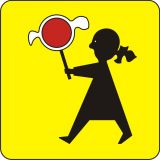 Znak T-27 Tabliczka wskazująca, że przejście dla pieszych jest szczególnie uczęszczane przez dzieci - drogowy - Aktywne przejścia dla pieszych