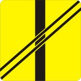 Znak T-7 Tabliczka wskazująca układ torów i drogi na przejeździe - drogowy - Uwaga tramwaj – znak drogowy A-21