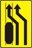 Znak T-8 Tabliczka wskazująca miejsce, w którym ruch pojazdów został skierowany na tory tramwajowe - drogowy - Tabliczki do znaków drogowych – znaki drogowe, cz. V