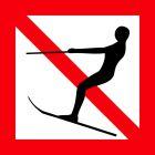 Znak żeglugowy A.14 Zakaz uprawiania narciarstwa wodnego oraz holowania statków powietrznych za statkiem