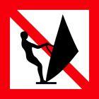 Znak żeglugowy A.17 Zakaz pływania na desce z żaglem