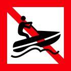 Znak żeglugowy A.20 Zakaz ruchów skuterów wodnych